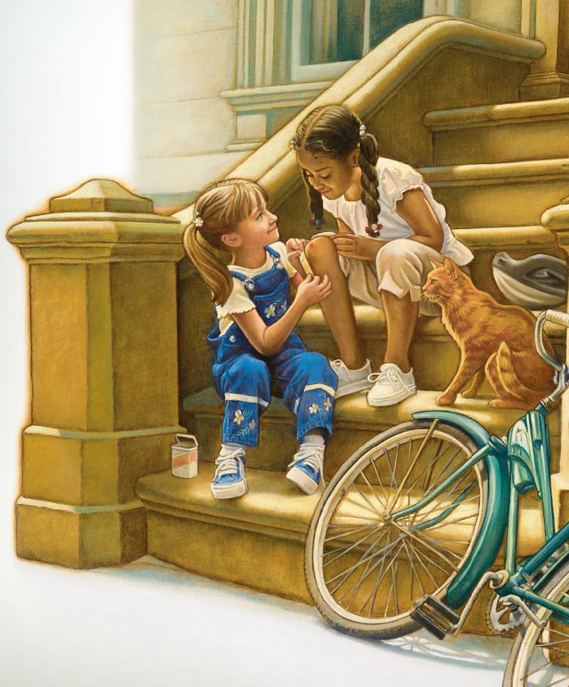 Una niña le pone una tirita en la rodilla a otra niña que es de distinta raza