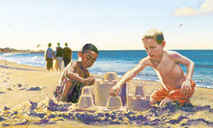 Two boys of different skin color play together
