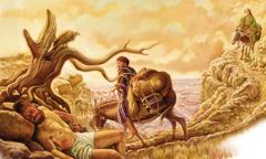 Ein Priester und ein Levit reiten an einem Mann vorbei, der halb tot am Wegesrand liegt; ein Samariter kommt näher