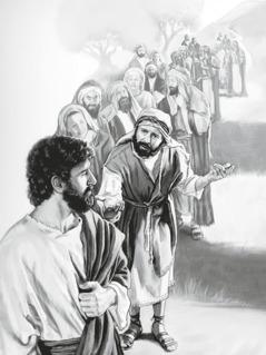 Kāds vīrietis uzrunā Jēzu un citi cilvēki klausās