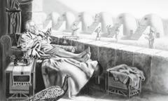 Kāds bagāts vīrs raugās uz savām jaunajām klētīm