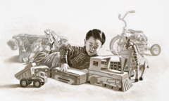 A boy plays with his toys