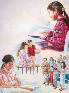 女孩讀聖經;跟另一位女孩傳道;跟家人參加聚會;向耶和華禱告