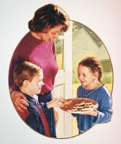 한 소녀가 어느 소년과 그의 어머니에게 과자를 주는 모습