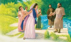 루디아가 바울과 누가와 그 밖의 사람들을 자기 집으로 초대하는 모습