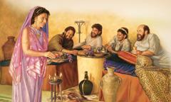 루디아가 바울과 누가와 그 밖의 사람들에게 먹을 것을 주고 쉴 곳을 마련해 주면서 행복해하는 모습