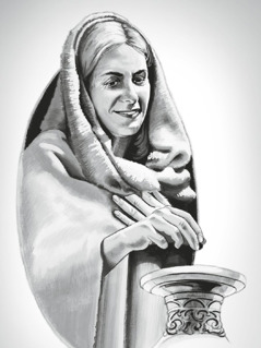 한 가난한 여자가 작은 동전 두 개를 성전에 헌금하는 모습