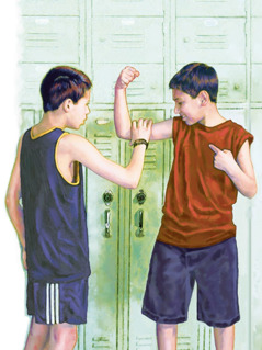 A boy shows his muscles to another boy