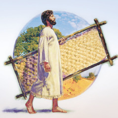 A man healed by Jesus picks up his cot and walks