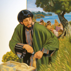 Judas steals from the money box Jesus gave him to take care of