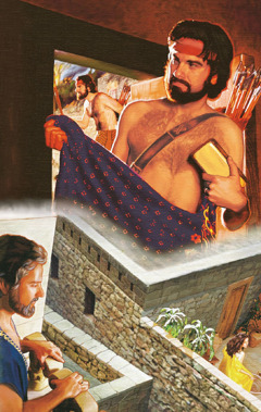 Akan holder på en kappe og en gullbarre; David ser på Batseba