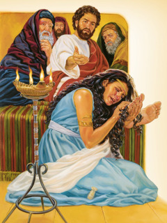 Jesus forgives a woman's sins after she pours oil on his feet and wipes her tears from his feet with her hair