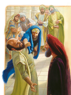 High Priest Ananias tells a man to hit the apostle Paul in the face