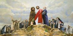 Dua orang pria memegang Yesus di tebing sebuah gunung; mereka siap untuk melemparkannya ke jurang agar ia mati