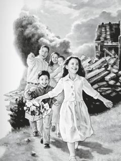 Egy család belép Isten új világába, a háttérben a régi világ látható
