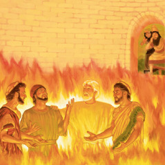 Jehovah's angel protects Shadrach, Meshach, and Abednego in the fiery furnace