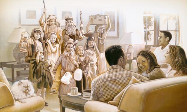 Dzieci odgrywają na przyjęciu biblijne przedstawienie
