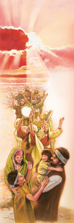 The Israelites sing, dance, and give thanks to Jehovah after passing through the Red Sea