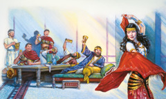 The daughter of Herodias dances at King Herod's birthday party
