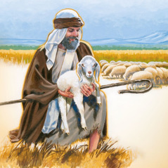 A shepherd holds a sheep he rescued
