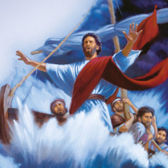 Jesus tells the wind and the waves to be calm