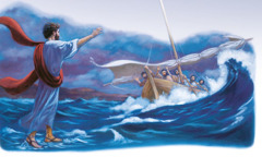 Jesus walks on water toward his disciples in a boat