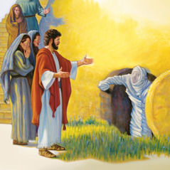 Jesus calls, and Lazarus comes to life and steps out of the cave