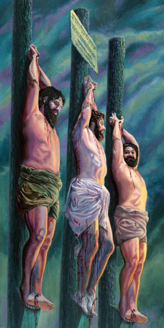Jesus on a torture stake, between two criminals
