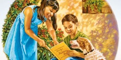 A girl shows My Book of Bible Stories to a boy