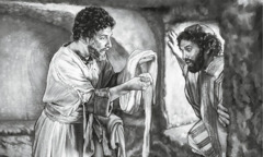 Peter and John look at the linen cloths that Jesus' body was wrapped in