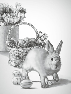 An Easter rabbit and Easter eggs
