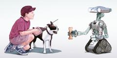 A boy guides a robot to give his dog a bone