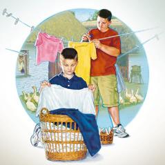 İki oğlan ipdən paltar asır