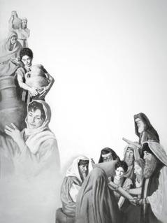 Der junge Jesus hilft Wasser vom Brunnen zu holen; er stellt Männern im Tempel Fragen