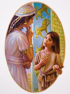 Ein Mädchen aus Israel spricht mit der Frau von Naaman