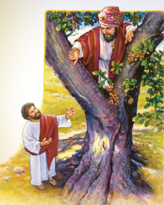 Jesus asks Zacchaeus to come down from the tree