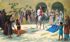 Jesus rir inn i Jerusalem på en eselfole, og folk legger ytterklærne sine og grener på veien