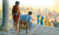 When Pilate brings Jesus outside, the people shout