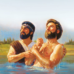 Jesus comes up out of the water after being baptized by John the Baptist