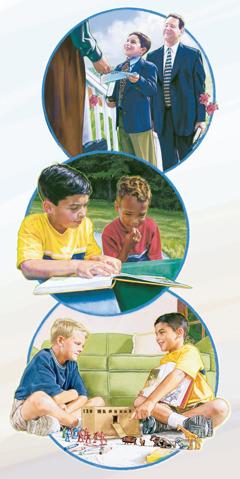 En gutt forkynner for en mann, viser en gutt Min bok med fortellinger fra Bibelen og bygger en liten utgave av arken sammen med en annen gutt