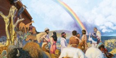 After Noah, his family, and the animals come out of the ark, a rainbow appears in the sky