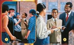 Un grup de joves atacant un nen; el  mateix nen predicant les bones notícies del Regne