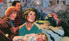 Des personnes échappent à un tremblement de terre