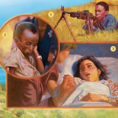Deček se bojuje v vojni, neki drug deček strada, bolna deklica leži v postelji.