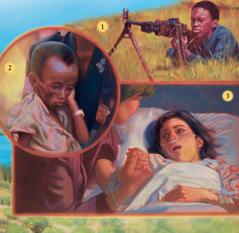 Um rapaz na guerra, um menino esfomeado e uma menina doente na cama