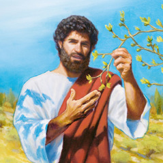 Jesus holds a branch of a budding fig tree
