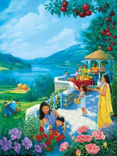 Mga tao sa Paraiso na nagtatayo ng bahay, nag-aalaga sa lupa, at nag-e-enjoy sa mga bunga nito