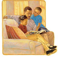 A father reads the Learn From the Great Teacher book with his children