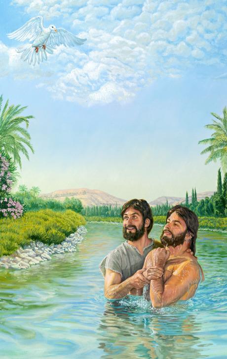 هنگام تعمید عیسی، روح خدا همچون کبوتری بر او نازل میشود و ثابت میشود که او مسیح موعود است