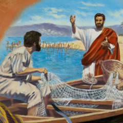 Jesus preaching to some fishermen